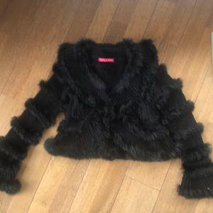 Derhy  kids wool and fur cardigan